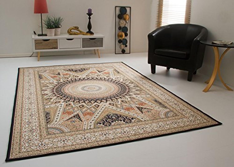 Levante Sultan Ahmed Teppich dünn Orient Design Wohnzimmerteppich in Creme Beige, Gre  200x290 cm