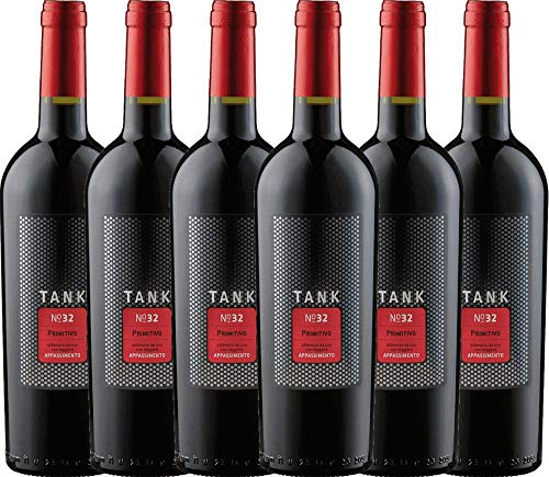 VINELLO 6er Weinpaket Primitivo - TANK No 32 Primitivo Appassimento 2020 - Cantine Minini mit Weinausgießer   halbtrockener Rotwein   italienischer Wein aus Apulien   6 x 0,75 Liter