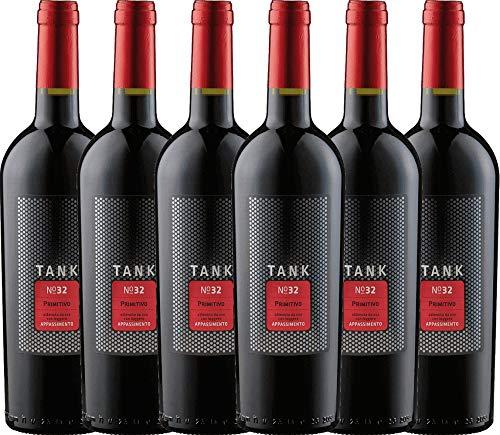 VINELLO 6er Weinpaket Primitivo - TANK No 32 Primitivo Appassimento 2019 - Cantine Minini mit Weinausgießer | halbtrockener Rotwein | italienischer Wein aus Apulien | 6 x 0,75 Liter