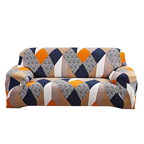 JS One Cubierta del sofá Floral Slipcover Settee Stretch Couch 3 Seater Protector - Cubo mágico (3 plazas - 195-230cm)