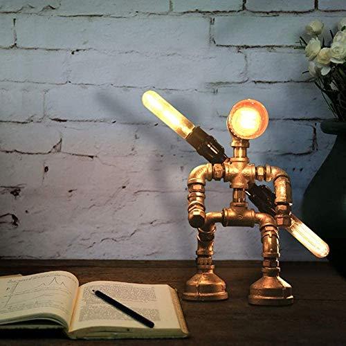 Lámpara de mesa industrial Lámpara de robot retro Luces nocturnas para dormitorios Bar y restaurante Lámpara de escritorio de tubería de agua creativa en acabado plateado(Bombilla no incluida)
