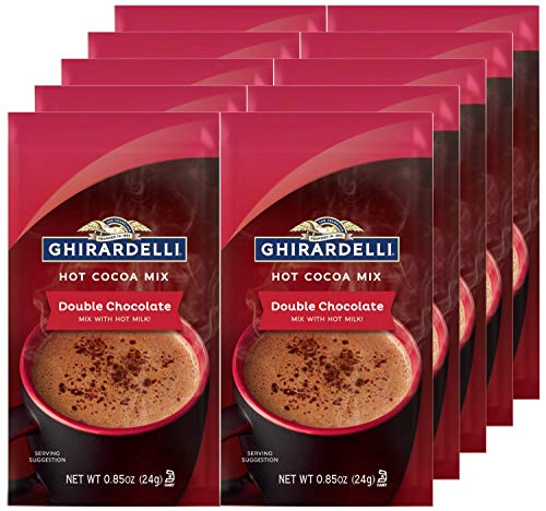 Ghirardelli Chocolate Premium Hot Cocoa, Double Chocolate, 0.85-Ounce Packets (Pack of 10)