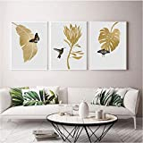 THRONI Wandbild Schmetterling Golden Palm Leaf Poster