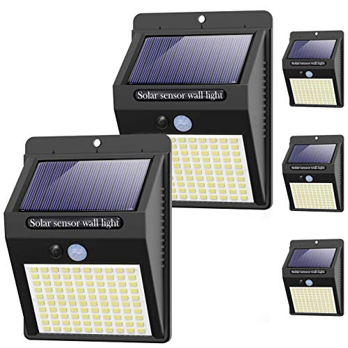 Solarlampen für Außen kolpop, [5 Stück] 100LED Solarleuchte mit Bewegungsmelder 3 Modi 1200mAh Solarlampe 120° Superhelle Solar Led Wasserdichte Wandleuchte Solar Aussenleuchte Solarlicht für Garten