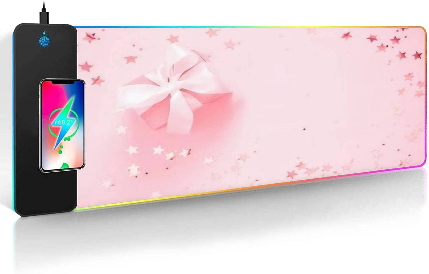 Large RGB Mouse Pad with Backgroun Ranking TOP14 Festive Pink Charger Bombing free shipping Wireless