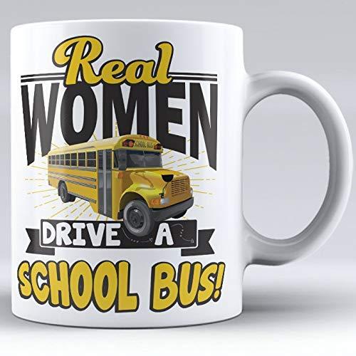 N\A Mujeres Reales conducen un autobús Escolar, Taza de Conductor de autobús Escolar, Tazas de café Blancas, autobús Escolar, Regalo de Conductor de autobús, Conductor de autobús Feminista