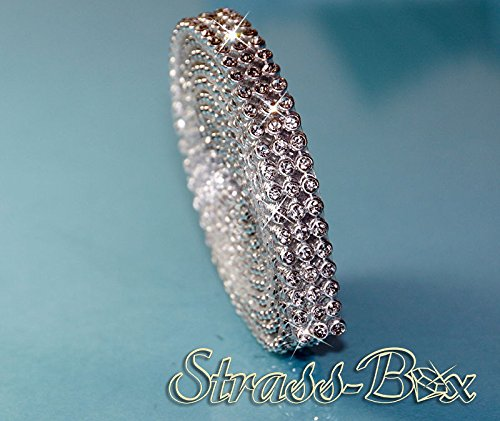 Hotfix Crystal Mesh bande de strass SS8 galon thermocollant, strass, Largeur au choix, Mind. 1,15 m, 3reihig / 10mm x 1150mm