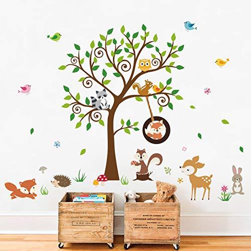 decalmile Pegatinas de Pared Bosque Animales Árbol Vinilos Decorativos Zorro Ardilla Ciervo Adhesivos Pared Habitación Infantiles Niños Bebés Guardería (H:79cm)