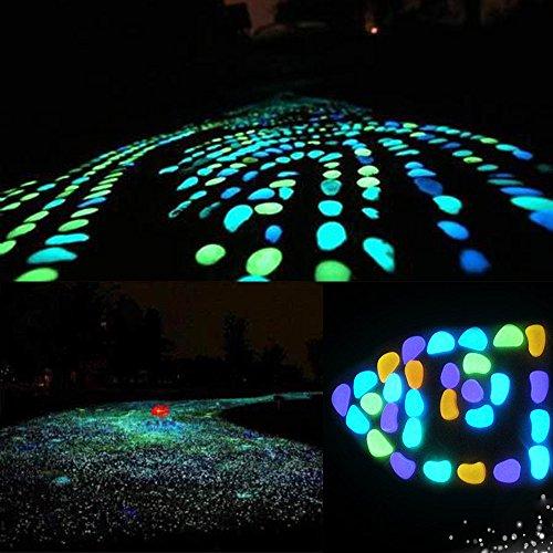 Alvinm 50 Stück Leuchtsteine Outdoor Bunt Leuchtsteine Kieselsteine Leuchtkiesel für Graten Kieselsteine Dekorative Steine für Halloween Aquarium Garten Flur Kinderzimmer Dekoration