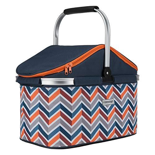 anndora Einkaufskorb 25 Liter ISO Picknick Kühlkorb - dunkelblau orange