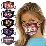 2021 Happy New Year Mund und Nasenschutz, 5 STK Unisex Waschbar Mundschutz, Wiederverwendbar Atmungsaktiv Staubdichte für Home-Office im Freien