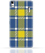 Lenovo A7000 TPU Silicone Case with Blue and Yellow Plaid Fabric Design