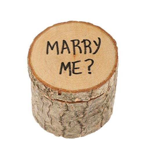 ROSENICE Boîte de Bague de Mariage Porteur de l'Anneau d'Alliance Vintage Bois