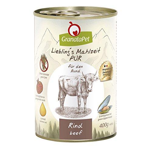 GranataPet Liebling\'s Mahlzeit Rind PUR, Nassfutter für Hunde, Hundefutter ohne Getreide & Zuckerzusätze, Alleinfuttermittel mit hohem Fleischanteil & hochwertigen Ölen, 6 x 400 g