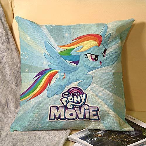 My Little Pony - Fundas de cojín de lino decorativas, fundas de almohada cuadradas con cremallera invisible para sofá, dormitorio, sala de estar, fundas de almohada de lino de 45 x 45 cm