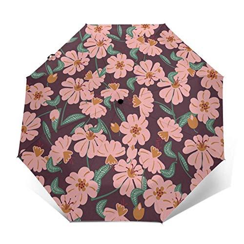 Paraguas automático de tres pliegues para jardín con diseño de flores rosas que puede prevenir el viento, la lluvia y los rayos UV.
