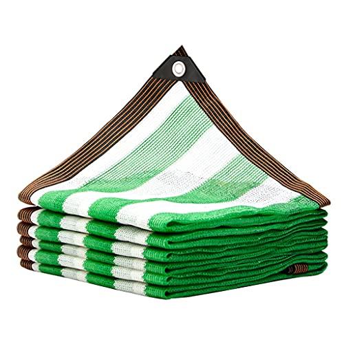 Toldos Malla de Rayas con Rayas Verdes y Blancas, Tela de Sombra con Protector Solar de 2x8 M, Encriptación de 8 Pines Red Duradera Resistente A Los Rayos UV con Arandelas Galvanizadas Tela de Sombra