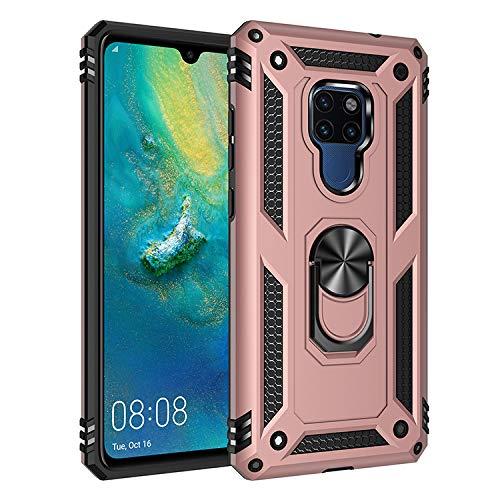 BestST Funda Huawei Mate 20X con Anillo Soporte, con HD Protectores de Pantalla, Rugged TPU y PC Cubierta de Doble Capa Hybrid Carcasa y 360 °Rotación Kickstand 2 en 1 Case. Rose-Oro