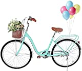 Astrong Beach Bike 26 Inch Womens Complete Cruiser Bike Girls Classic Retro Bicycle with Front Basket Seaside Travel Bicycle, Rear Racks Comfortable Commuter Bicycle for Teens Shopping