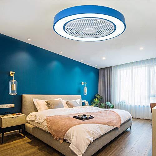 EnweLampi Dormitorio Infantil Ventiladores para El Techo con Lámpara, Ajustable Minimalista Techo Lámpara, para Cocina Restaurante[Clase Energética A ++],Azul