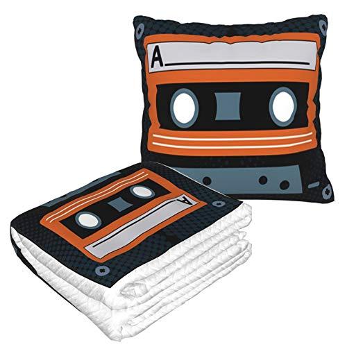 Cassette Tape Design - Manta de almohada de viaje (forro polar suave, 2 en 1)