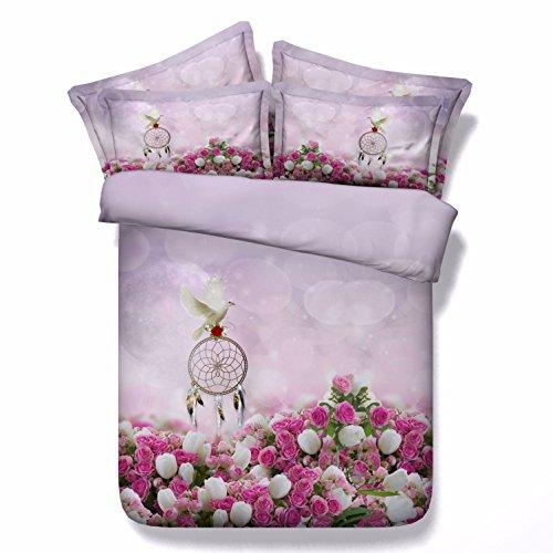 HUANZI Pink Polyester Bettdecke Cover Tauben Muster Doppelbett Decken und Kissen Koffer Set, 240 * 225