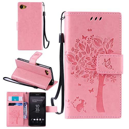 Sangrl Funda para Sony Xperia Z5 Mini / Z5 Compact, PU Cuero Cover Flip Soporte Case [Función de Soporte] [Ranuras] Cat árbol Mariposa Diseño de Patrón en Relieve - Rosa
