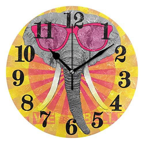 Niedliche Sonnenbrille Elefant Wanduhr Funk Modern Quartz Rund Wanduhren Lautlos Kinderuhr Nicht-Ticken Funkuhr Küchenuhr