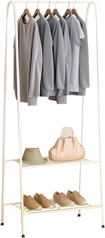 JIAYING Freestanding Garment Rack,Metal Coat Rack,shoes Bench Storage Stand with 2-Tier Shelves for Indoor Bedroom (color   White)
