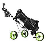 PEXMOR Golf Push Cart, 3 Wheel Folding Golf Trolley w/Seat, Foot Brake, Umbrella Holder, Cup Holder, Scoreboard Bag, Easy Push and Pull Golf Cart (Green)