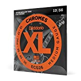 D'Addario ECG26 XL Chromes Flat Wound Electric Guitar Strings, Medium Gauge,...