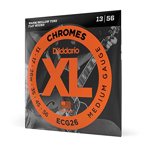D'Addario ECG26 XL Chromes Flat Wound Electric Guitar Strings, Medium Gauge, 13-56 (1 Set) – Ribbon Wound and Polished for Ultra-Smooth Feel and Warm, Mellow Tone – Sealed Pouch Prevents Corrosion
