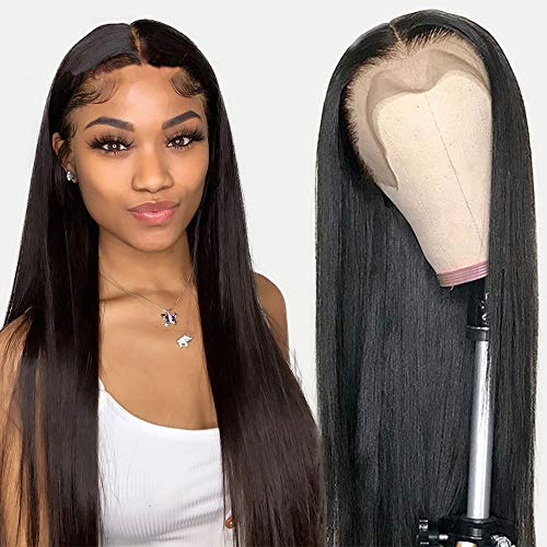 Xtrend 24 Inch Long Straight Natural Black Lace Front Wigs Natural Looking...