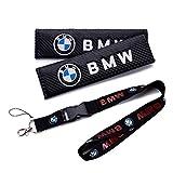 QZS Key Chain Holder Belt Cover 2020 2pcs/Set Carbon Fiber Seat Belt Shoulder Pad Cover 9.1INCH with Car Key Ring Lanyard Badge Holder Excellet Quality for Cars(BMW)