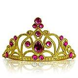 Katara 1682 - Diadema de Princesa Accesorio de Disfraz Corona de Cuentos de Hadas - Dorada con Cristales, Rosa Oscuro