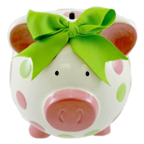 Burton & Burton Girls Pink & Green Circles Pig Piggy Bank Green Bow Ceramic Personalized Baby...