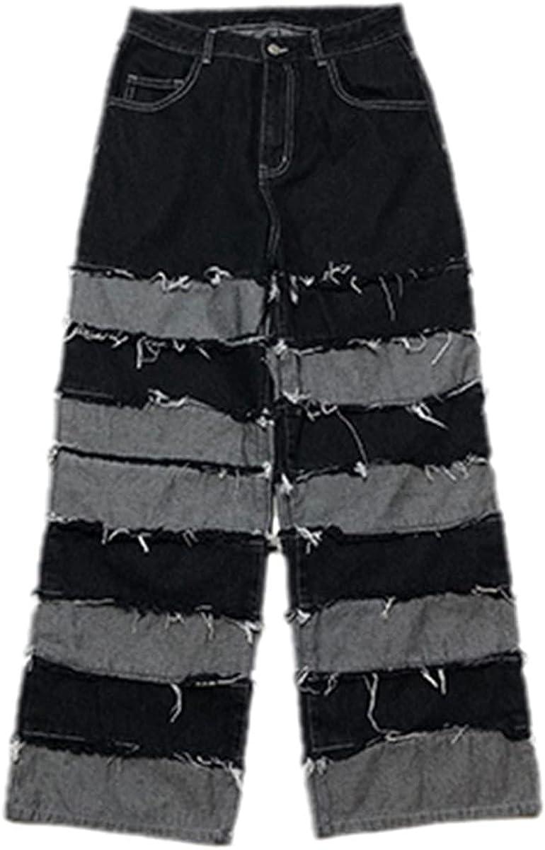 Fringed Pants Men's Fashion Pendant Wide Legs Hip Hop Lazy Jeans Couple Pants Loose Pants