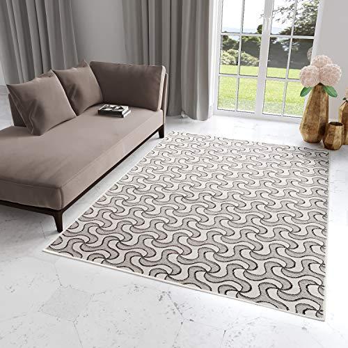 Tapiso Bohemian Teppich Modern Kurzflor Creme Grau Ecru Designer Geometrisch Bumerang Muster...