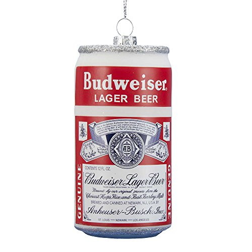 Kurt Adler Glass Budweiser Large Beer Can Ornament