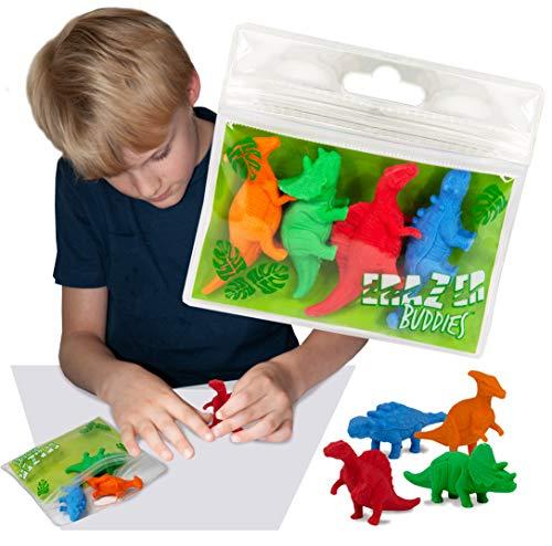 Erazer Buddiez - Dinosaurio de Deluxebase. Gomas de borrar con forma de dinosaurio para niños y niñas. Colorido set de borradores de lápiz, ideal para útiles escolares y artículos de oficina