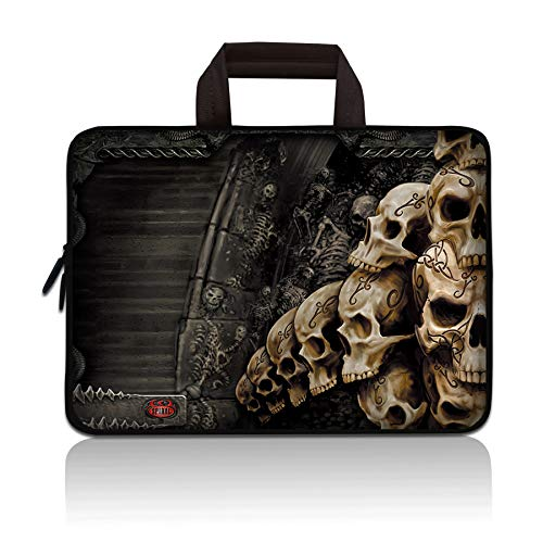 11 11.6 12 12.1 12.5 inch Laptop Carrying Bag Chromebook Case Notebook Ultrabook Bag Tablet Cover Neoprene Sleeve Compatible with Apple MacBook Air Samsung Google Acer HP DELL Lenovo Asus (Skull)