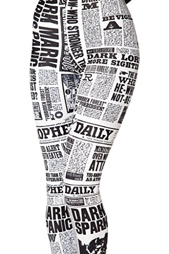 Sister Amy Women's High Waist Skull Printted Ankle Elastic Tights Legging Daily Newspaper US XS