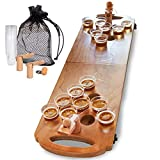 wooden beer pong - SHARPER IMAGE Mini Beer Pong Tabletop Set with Table, Cups, Balls & Carrying Case