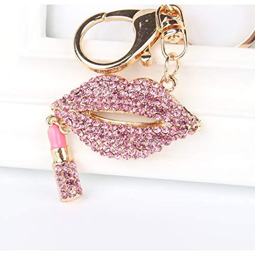 N/Een Roze Lippenstift Hanger Charm Strass Kristal Portemonnee Tas Sleutelhanger Sleutelhanger Accessoires Bruiloft Feest Liefhebber Gift