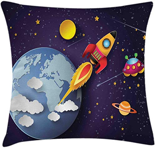 Outer Space Throw Pillow Cushion Cover Rocket on Planetary System with Earth Stars UFO Saturn Sun Galaxy Boys Print Decorative Square Accent Pillow Case 18' X 18' Indigo White