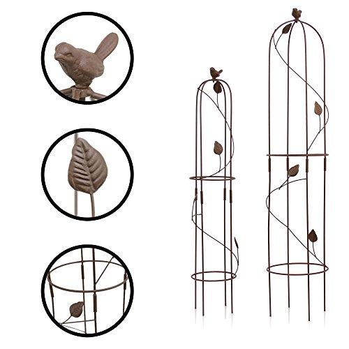 1PLUS Metall Rankhilfe Obelisken Set, 2 Stück, Höhe: 80,5 und 100 cm, in versch. Farben - rost-geschützte Garten Rosen Säule (Harkness, Braun)