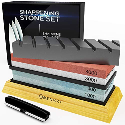 Professional Knife Sharpening Whetstone Kit 400/1000 and 3000/8000 Grit - Deluxe Safety Sharpener Set w/Bamboo Base, Flattening Stone & 2 Nonslip Bases w/Angle Guide - Sharpens any Knife, Razor Sharp