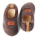 Kids House Slippers Anti-Slip Household Soft Fleece Lined Winter Warm Non-Slip Rubber Sole Shoes Indoor Outdoor Bedroom Slippers for Girls and Boys Brown, 5-5.5 Infant
