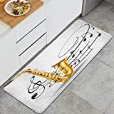 DYCBNESS alfombras de Cocina Antideslizantes Lavables,Ilustración de Elegante saxofón Antiguo con Plantilla Solo Vibes Art Print Design,felpudos para Interiores y Exteriores 45x120cm