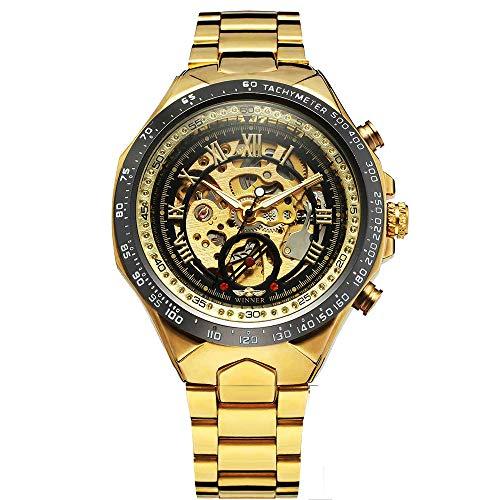 Winner Goldene skelettierte Armbanduhr für Herren, automatische mechanische Uhr mit Edelstahlarmband